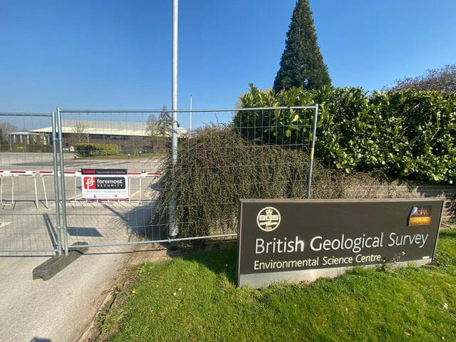 British Geological Survey temporary fencing with Foremost Security signage